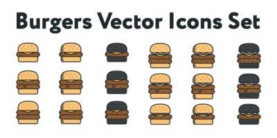 Hamburger i Double Cheeseburger Czarna Bun Minimalna Kolor Vector Linia Zestaw Kolekcja Icon