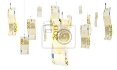 Hameçons et kęsy de 200 euros sur fond blanc 1