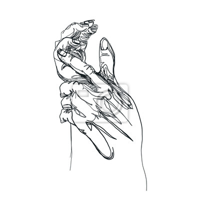 hand drawing sketch hand& one line drawing, for art, t-shirt , nails