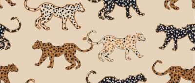 Naklejka Hand drawn abstract pattern with leopards. Creative collage contemporary seamless pattern. Natural colors. Fashionable template for design.
