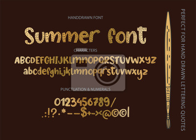 Hand drawn calligraphic vector font. Distress letters with texture. Modern golden calligraphy type. ABC cute typography latin alphabet.