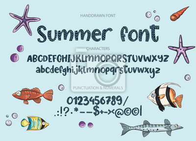 Hand drawn calligraphic vector font. Distress summer texture. Modern calligraphy type. ABC cute typography latin alphabet.