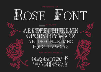Naklejka Hand drawn calligraphic vector serif font. Distress ornate floral letters. Modern calligraphy type set. ABC typography latin alphabet with rose illustrations.