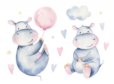 Naklejka Hand drawn cute isolated tropical summer watercolor hippo animals. hippopotamus baby and mother cartoon animal illustrations, jungle tree, brazil trendy design. Aloha collection.