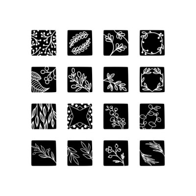 Hand drawn floral elements isolated on background