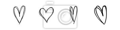 Naklejka Hand drawn hearts. Hand drawn love symbol collection. Grunge illustrated heart set.