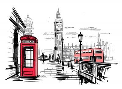 Naklejka hand drawn landscape of London city