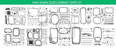 Naklejka Hand drawn line, border, frame vector design element set. Template for invitation or greeting card.
