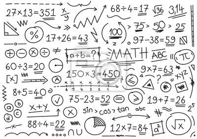 Naklejka hand drawn math symbols. mathematical numbers, symbols and signs. hand drawn, number, symbol, sign and shapes. math concept