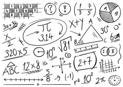 Naklejka hand drawn math symbols. mathematics background. scribble mathematical concepts