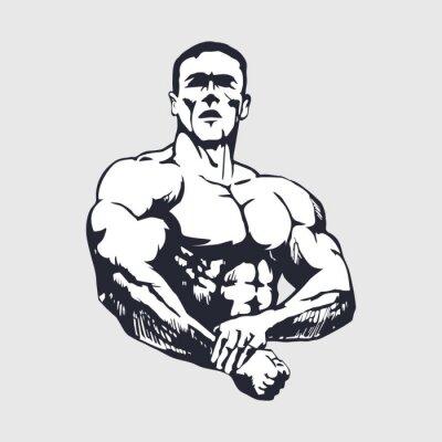 Naklejka Hand drawn muscular man - Bodybuilder