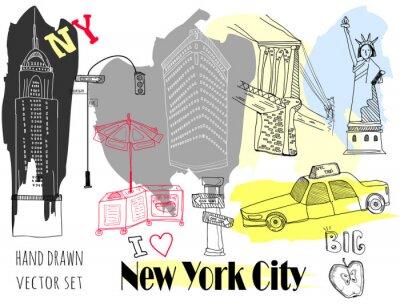Naklejka Hand drawn New York elements. Colored graphic vector set