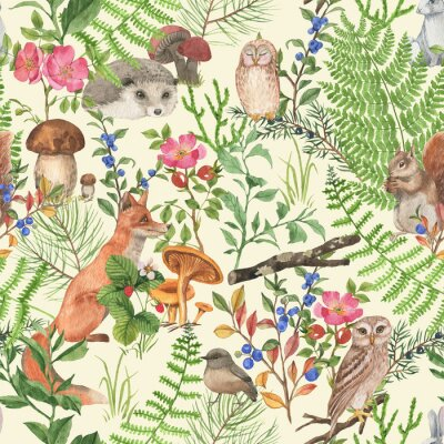 Naklejka Hand drawn seamless pattern with watercolor forest animals and plants. Pattern for kids wallpaper, wood inhabitants, cute animals