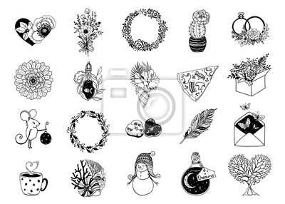 Hand drawn set various simple icons. Decoration for logos, wedding, web pages, holidays, collection romantic symbols, for blogs and social media. Drawing design vector elements is isolated.