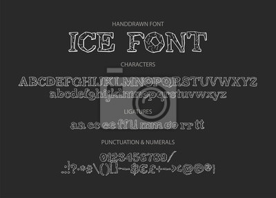 Hand drawn vintage vector alphabet ABC font with letters, numbers, symbols. For calligraphy, lettering, hand made quotes. Ice font with textured letters.