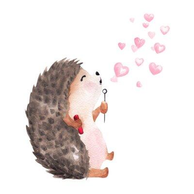 Naklejka Hand drawn watercolor hedgehog blowing heart shaped bubbles