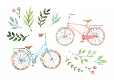 Naklejka Hand drawn watercolor illustration - Romantic bike with floral elements. City bicycle. Amsterdam. Perfect for invitations, greeting cards, posters, prints