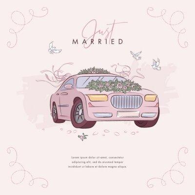 Hand drawn wedding car background. Vector illustration