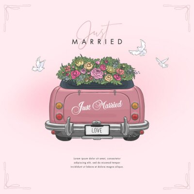 Hand drawn wedding car. Colorful wedding background for invitations, greeting cards, flyers and covers. Vector illustration