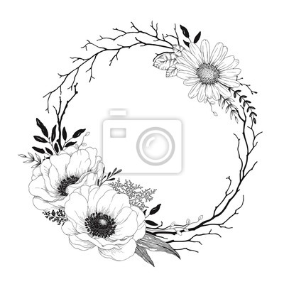 Hand drawn wreath with flowers Anemone and Daisy, dry branches and leaves. Vector floral illustration in vintage style.