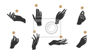 Naklejka Hand linear style icon, Hands and fingers vector design in various poses for create logo and line arts design Template.