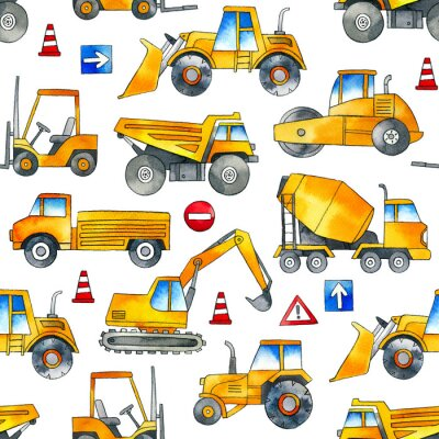 Naklejka Hand painted construction cars seamless watercolor pattern on white background.