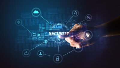 Naklejka Hand touching SECURITY inscription, Cybersecurity concept