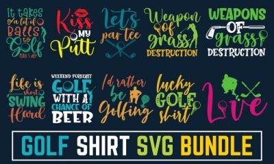 Naklejka Hand written calligraphy golf svg bundle, Disc Golf Designs, Disc Golf T-shirt vector, Typography T-shirt Design, illustration