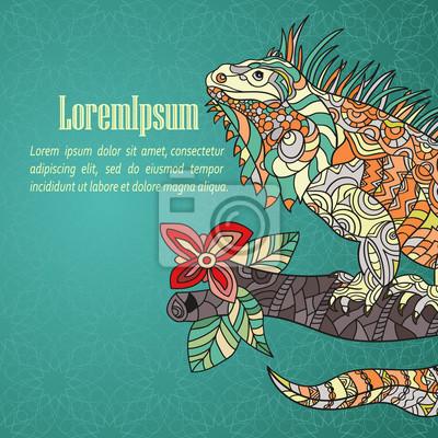 Hand wyciągnąć kartkę z iguana.