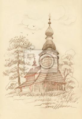 Hand wyciągnąć stary drewniany kościół