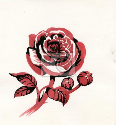 Handdrawn czerwona róża w stylu szkic, odizolowane na białym tle
