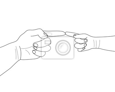 Hands Gesture Continuous One Line Drawing. Hand Line Drawing Print. Minimalist Contour Design. Line art Illustration. Vector EPS 10.