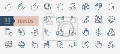 Naklejka Hands gesture - minimal thin line web icon set. Outline icons collection. Simple vector illustration.