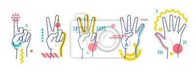 Naklejka Hands showing numbers one, two, three, four, five. Flat / line style whith colorful small geometric particle and dots.
