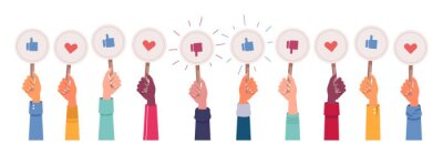 Naklejka Hands vote, likes and dislikes, hearts and feedback isolated icons set. Vector social media votes, positive and approve signs. Satisfaction and success marks, multiethnic and afro american asian skin