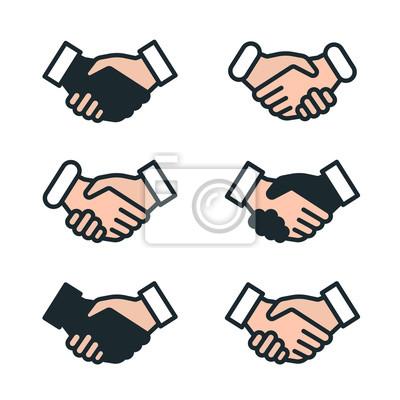 Handshake Przyjaźń Partnerstwo Minimalistyczny kolor Płaska linia kontur ikona piktogram Symbol zestaw kolekcja