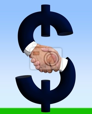 handshake ze znakiem pieniędzy