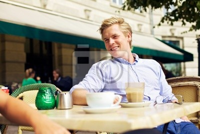Handsome Guy Hanging Out w Street Cafe