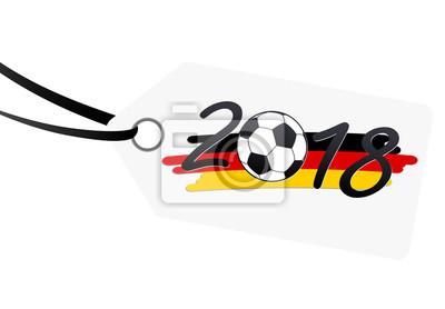 hangtag z napisem 2018 z niemieckimi barwami narodowymi