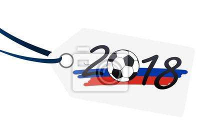 hangtag z napisem 2018 z rosyjskimi barwami narodowymi