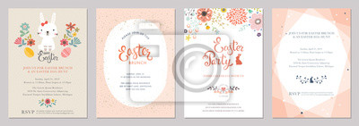 Happy Easter templates with eggs, flowers, rabbit and typographic design.