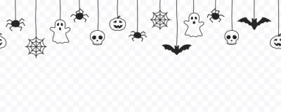 Naklejka Happy Halloween seamless banner or border with black bats, spider web, ghost  and pumpkins. Vector illustration party invitation isolated on transparent background