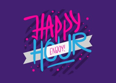 Happy Hour Label Sign Logo Hand Drawn Brush Lettering Calligraphy Type Design Vector Graphic