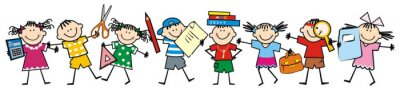 Naklejka Happy kids and school supplies. Group of girls and boys. Vector icon.