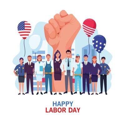 Naklejka Happy labor day card, USA holiday