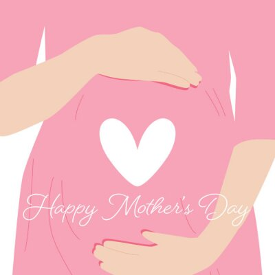 Happy Mother's Day card. Flat vector illustration.