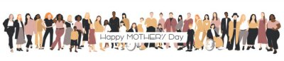 Naklejka Happy Mother's Day card. Multicultural group of mothers with kids collection. Flat vector illustration.