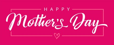 Naklejka Happy Mothers Day calligraphy pink banner. Vector typography decoration for Mother's day or sale shopping special offer poster. Best Mom ever greeting card