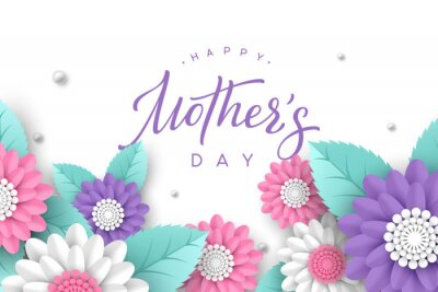 Naklejka Happy Mothers day typography design. Handwritten calligraphy with 3d paper cut flowers and leaves on white background. Vector illustration.
