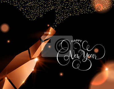 Happy new year card of copper 3d champagne
